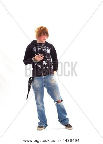 Teen Boy With Mp3 Player