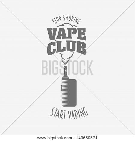 Vape Club Badge, Logo Or Symbol Design Concept. Vaping Box Mod And Vapor Cloud Vector Illustration I