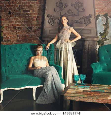 Fashion Portrait of Glamorous Models. Lady in Premium Dress
