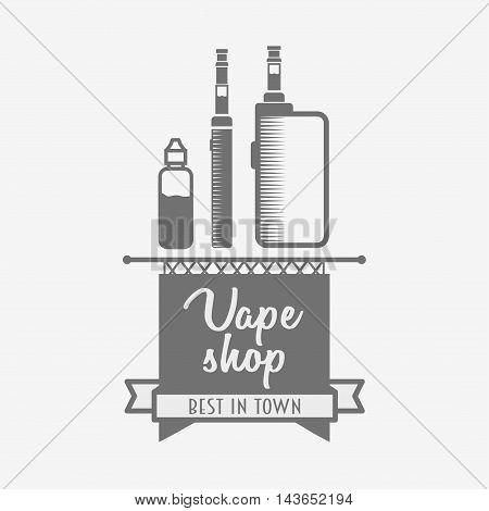 Vape Shop Logo Or Symbol Design Concept. Vaping Box Mod And Vapor Cloud Vector Illustration Isolated