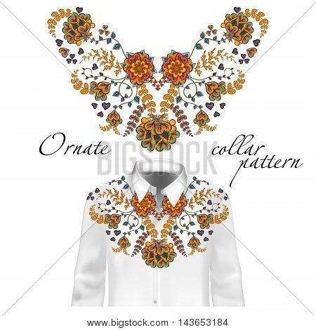 Floral pattern on collar, neck print. Abstract hand drawing flowers ornament. Collar pattern on shirt mockup Vector illustration. Brown orange