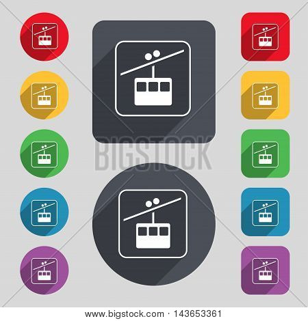 Cable Car Line Icon Sign. A Set Of 12 Colored Buttons And A Long Shadow. Flat Design. Vector