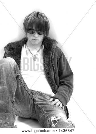 Teen Boy With Attitude Black And White