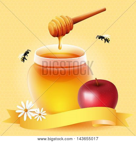 Traditional apple and honey. Design for Rosh Hashanah (Jewish New Year).
