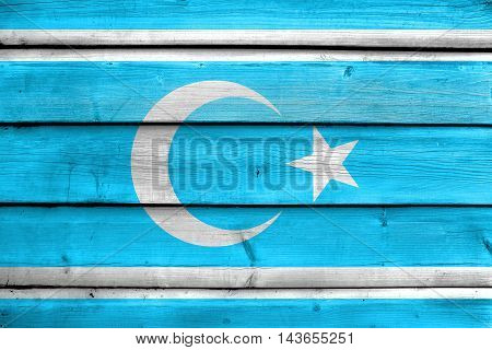 Flag Of Iraqi Turkmen Front, Painted On Old Wood Plank Background
