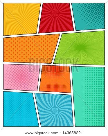 Big set of comic book backgrounds in different colors with radial, spiral, dotted and halftone effects. Pop-art style. Blank template