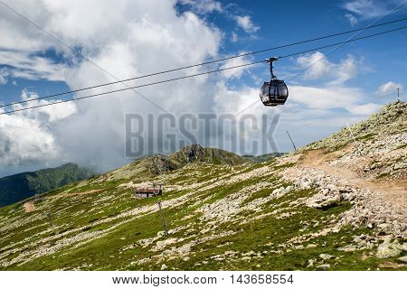 CHOPOK SLOVAKIA - JUN 20: Ropeway in Low Tatras mountains on Jun 2 2016 in Chopok