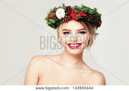 Beautiful Model. Cute Smile and Healthy Skin