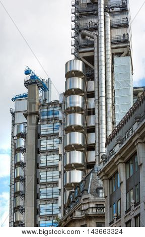 LONDON UK - SEPTEMBER 19, 2015: Lloyds bank building,  City of London