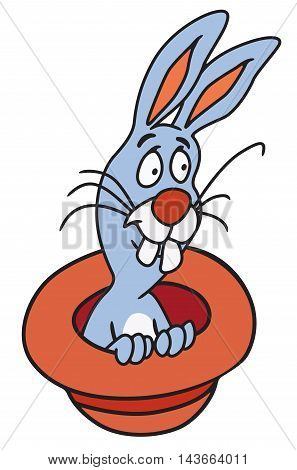 Illustration of rabbit jumping out of a magicians hat