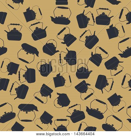 Endless pattern with kettles silhouettes can be used for design fabric, textile, kitchen designs, menu designs and more creative projects.