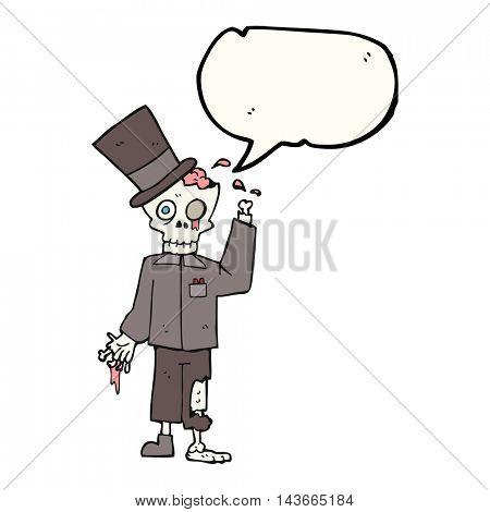freehand drawn speech bubble cartoon posh zombie