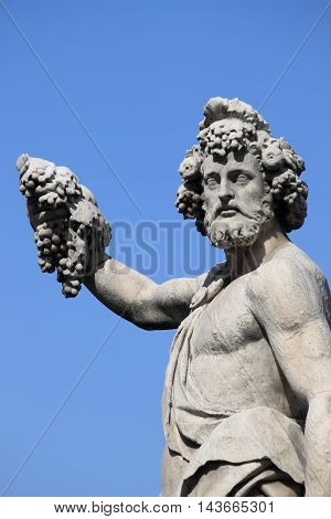 Closeup of the Statue of Bacchus in Florence Italy