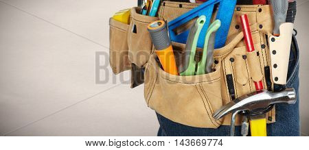 Tool belt with construction tools.