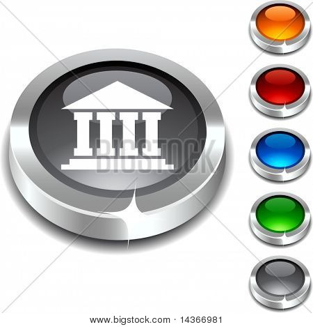 Exchange 3d button set. Vector illustration.