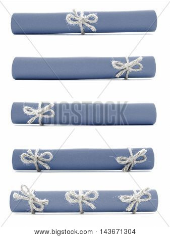 Blue paper rolls tied with natural ropes and knots collection