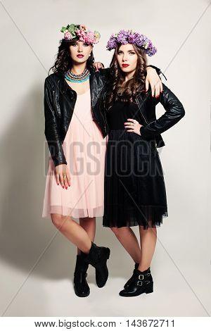 Two Young Girl Friends Fashion Model. Beautiful Women.