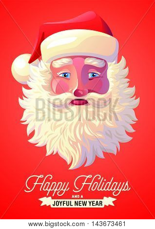 Vector illustration background of Santa Claus with congratulations. Postcard, Greeting Card, Poster, Banner