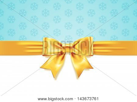 Vector illustration of Yellow Gift Bow on white and blue snowflake background