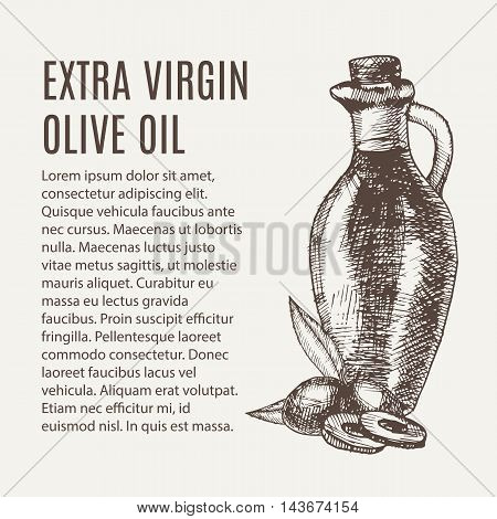 Hand Drawn Pencil Bottle Of Extra Virgin Olive Oil. Still Life Of Olive Oil In A Glass Jar And Sprig