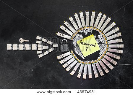 Internet SFP network modules as the shape of Earth and arrow padlock key and yellow sticker with title password on the black background.Concept of internet security/computer data encryption / data protection / security enhancement poster