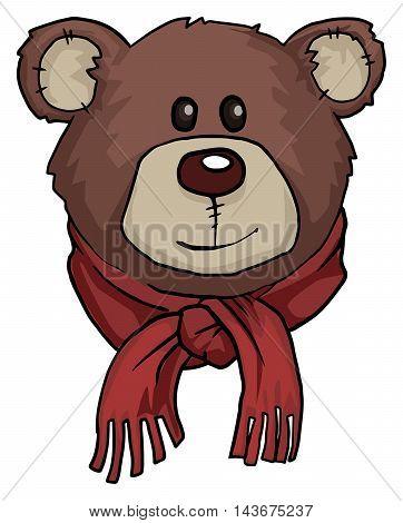 Teddy bear portrait, with warm red scarf, vector illustration