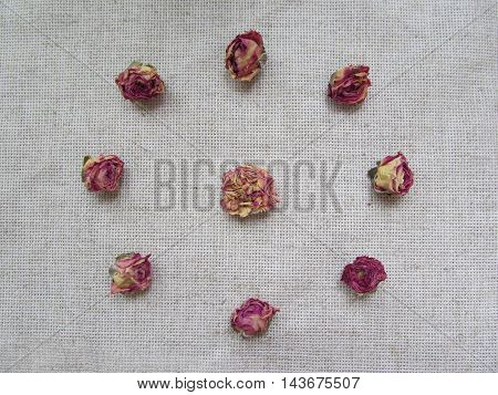 Set of dried rosebuds  on linen background