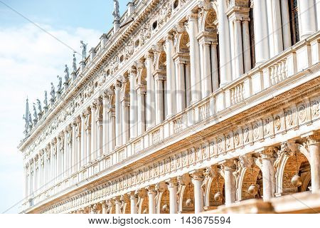 Facade fragment of Marciana library on the central square in Venice