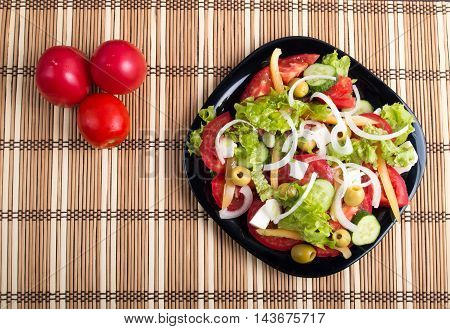 Top View On A Vegetable Salad With Natural Ingredients