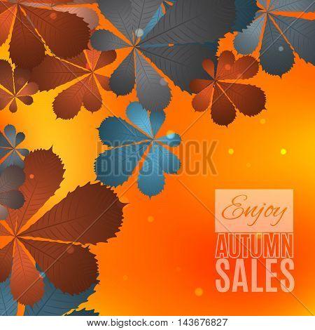 Fall sale design. Enjoy autumn sales banner. Autumn leaves. Fallen leaves background for autumn sales media. Vector illustration