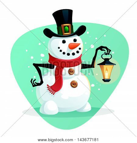 Vector Christmas illustration of Snowman with lamp