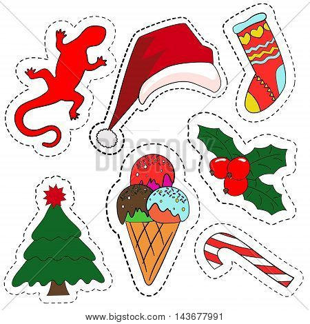 Quirky cartoon patch badges or fashion pin badges. Christmas decoration set: Santa hat, Candy cane, ice cream, Christmas symbol holly berry, Christmas tree, lizard, hand knitted socks for gifts