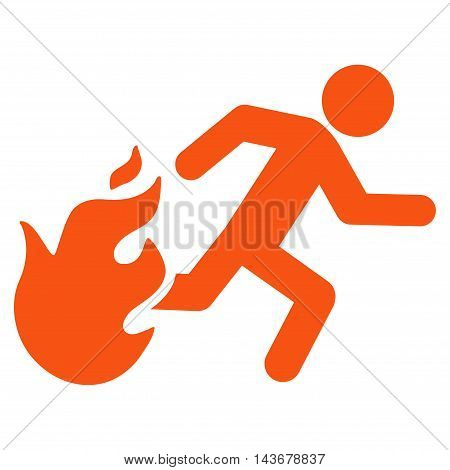 Fired Running Man icon. Vector style is flat iconic symbol with rounded angles, orange color, white background.