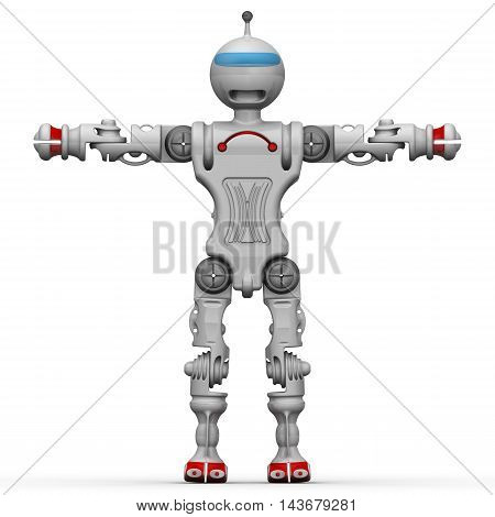 Humanoid robot standing on a white surface with arms raised. Isolated. 3D Illustration