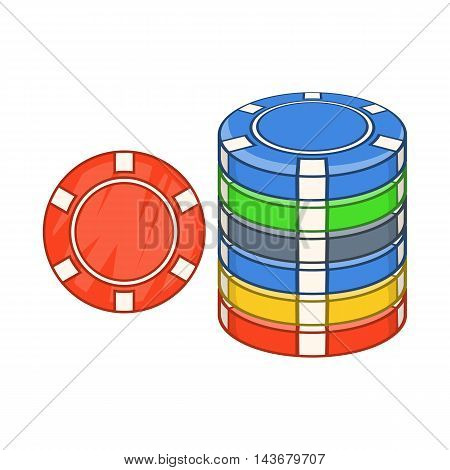 Casino chips icon in cartoon style isolated on white background. Cash symbol