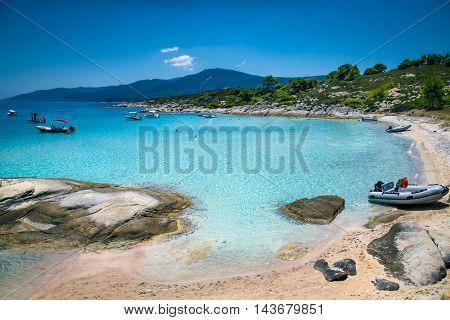 Beautiful beach on Diaporos island near Sithonia on Halkidiki, Greece.