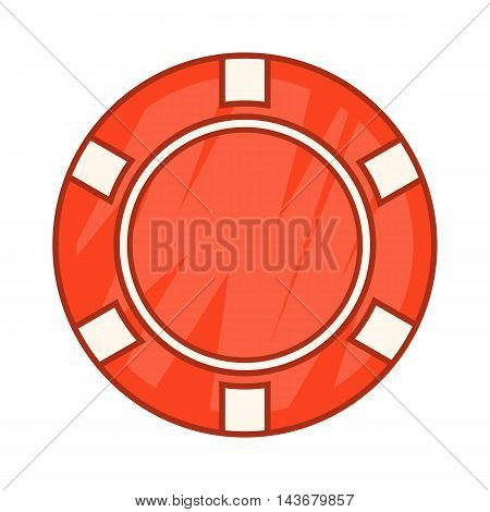 Red casino chip icon in cartoon style isolated on white background. Cash symbol