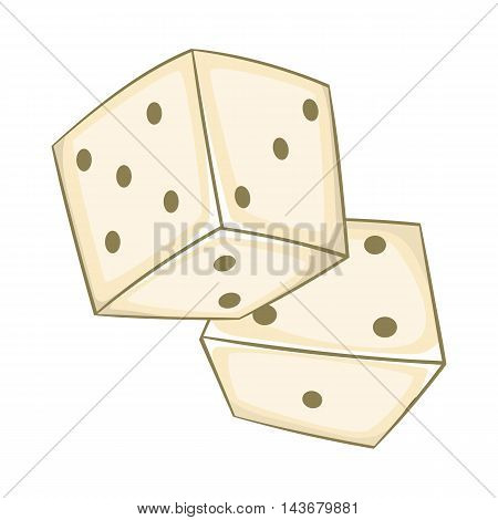 Dice icon in cartoon style isolated on white background. Game symbol