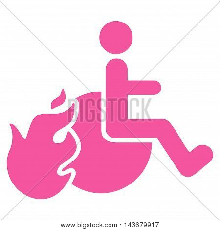 Fired Patient icon. Vector style is flat iconic symbol with rounded angles, pink color, white background.