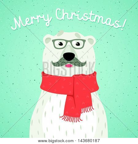 Vector illustration of Christmas card of polar bear with red scarf