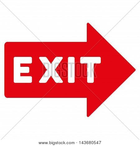 Exit Arrow icon. Vector style is flat iconic symbol with rounded angles, red color, white background.