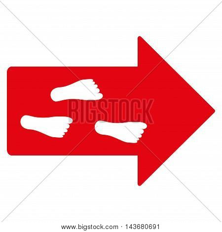 Exit Direction icon. Vector style is flat iconic symbol with rounded angles, red color, white background.