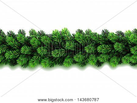 Vector illustration of seamless Christmas garland on white background