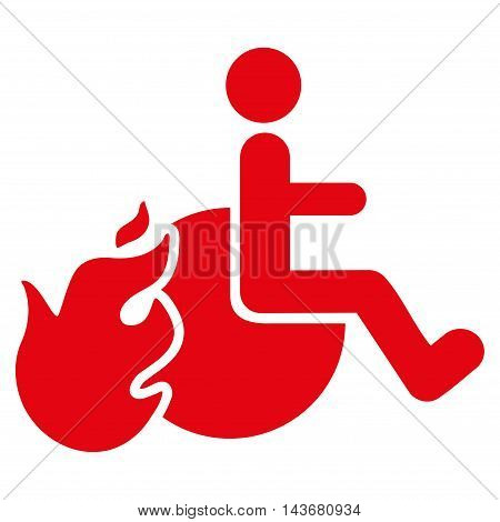 Fired Patient icon. Vector style is flat iconic symbol with rounded angles, red color, white background.