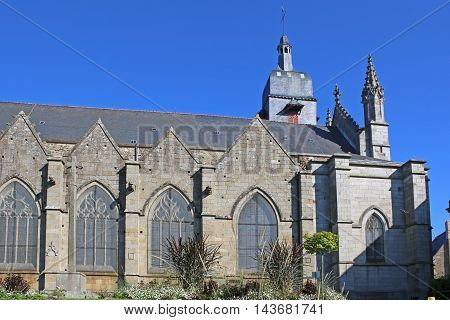 exterior of St Leonard church in Fougeres, France
