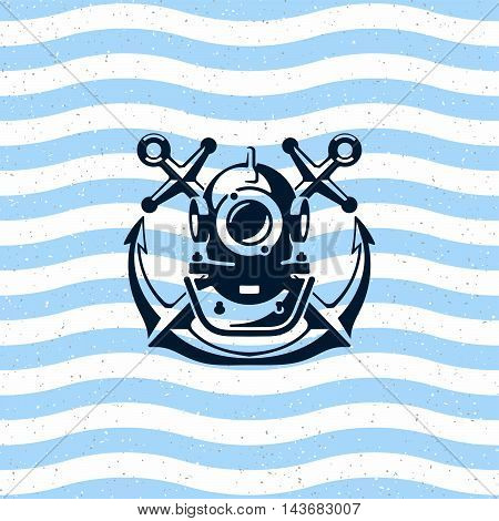 Diving helmet with anchors. Logo - Illustration