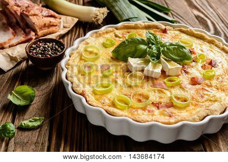 Quiche Lorraine With Cheese, Bacon And Eggs