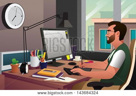 A vector illustration of illustrator working in front of computer using a pen
