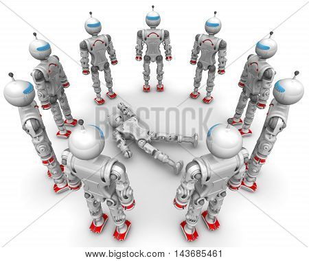 Defective robot surrounded operable. Operable humanoid robots standing in a cirkle on a white surface around a faulty robot. Isolated. 3D Illustration