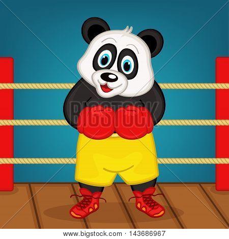 panda boxer on ring - vector illustration, eps